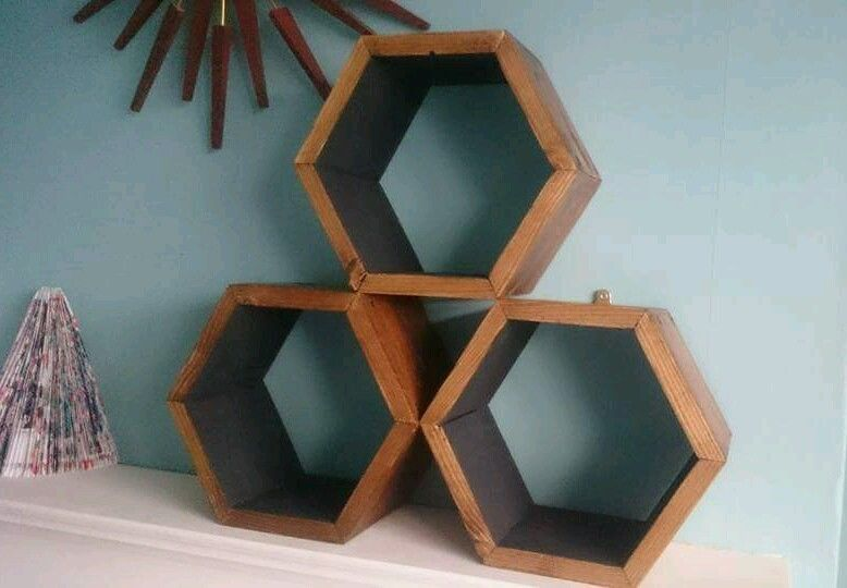 Handmade stackable hexagon shelves. rustic reclaimed wood geometric didplay self in Home, Furniture & DIY, Furniture, Bookcases, Shelving & Storage | eBay