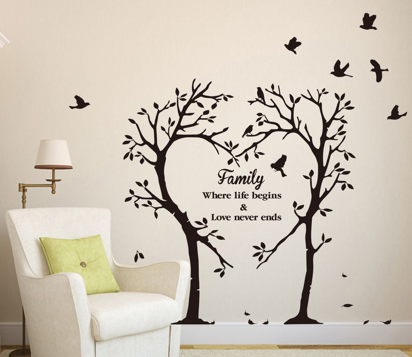 Family tree wall art roselawnlutheran large family tree wall decal with birds for picture framesoto frame tree wall art removable vinyl decal wall sticker large size d561 amipublicfo Choice Image