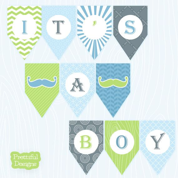 It\u0027s A Boy Mustache Banner Printable Sent Via Instant Download Jack