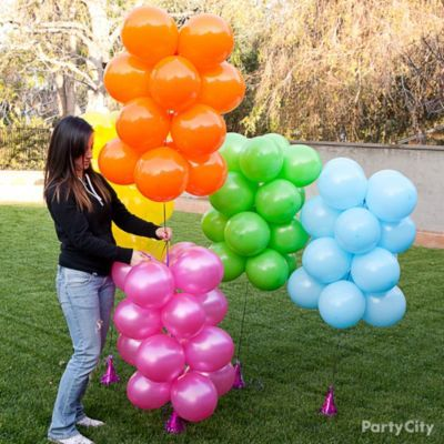 Rainbow balloon arch how to party city graduation for How to build a balloon arch