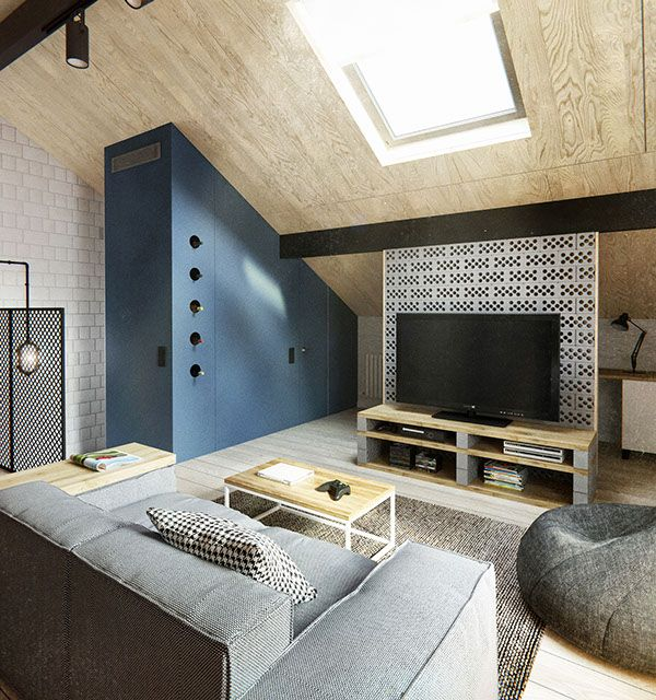 Ultra enjoyable scandanavian style duplex penthouse attic living room interior decoration from architecture includes a tv stand with storage a grey sofa