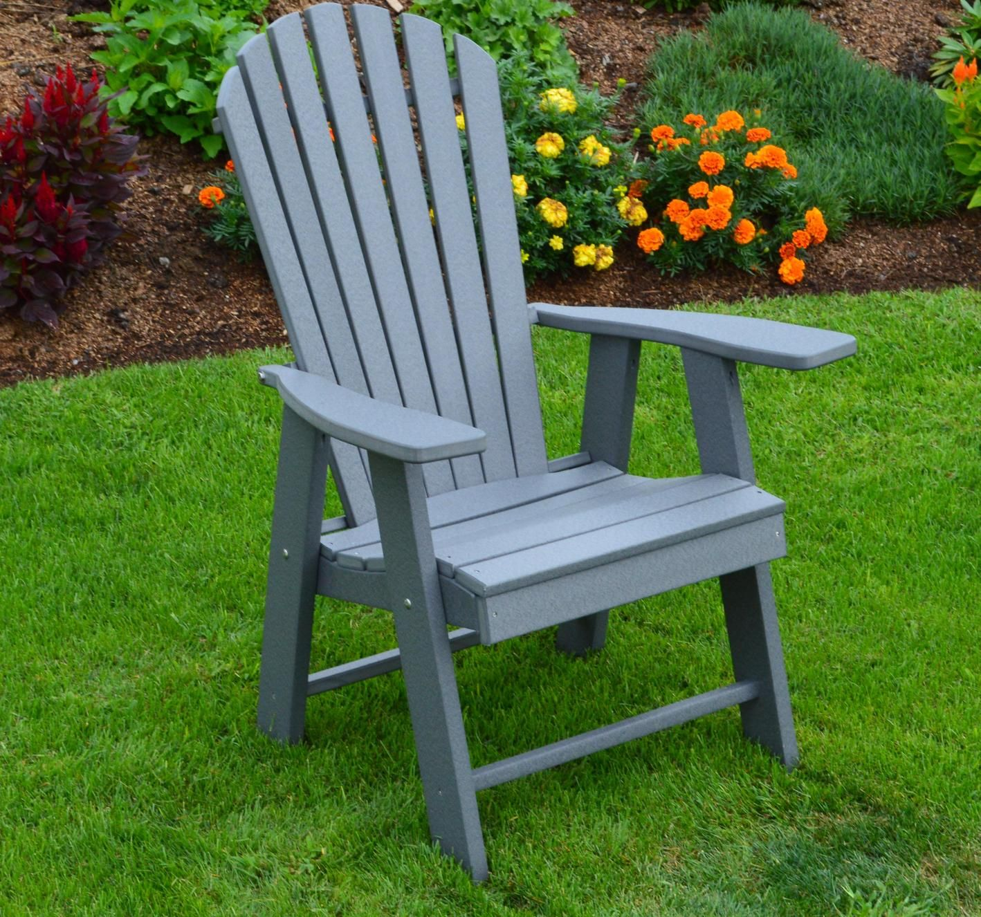 A & L Furniture Recycled Plastic Upright Adirondack Chair - LEAD
