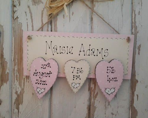 Three heart baby girl wooden plaque personalised wooden plaque three heart baby girl wooden plaque personalised wooden plaque keepsake that is sure to be treasured negle