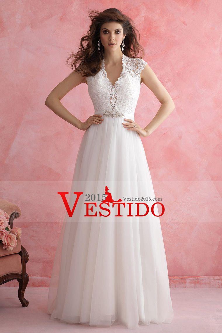 2015 V-cuello una línea de vestidos de novia de tul Cuentas con y ...