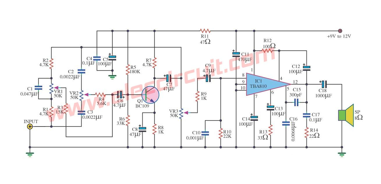 small resolution of 7 watts power amplifier circuit using tba810