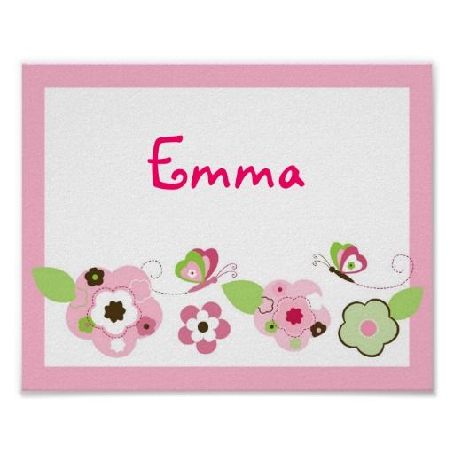 Butterfly Flower Girls Nursery Wall Art Name Print