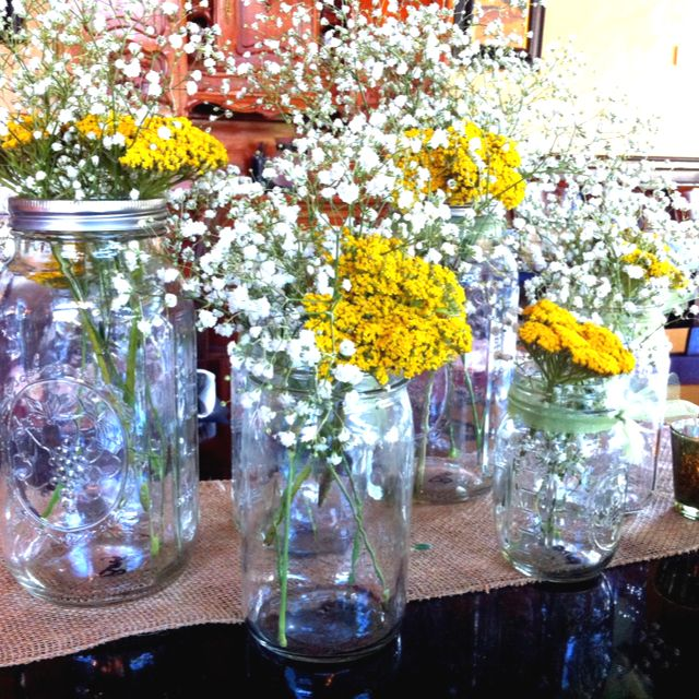 Vintage Wedding Ideas Mason Jars: Mason Jar Cluster #centerpiece #masonjar #wedding #vintage