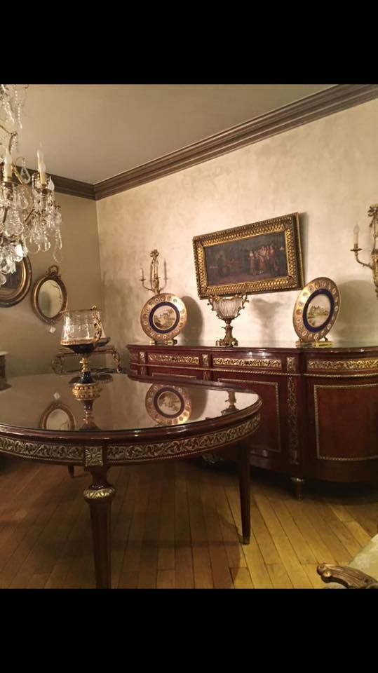 LOUIS XVI DINING ROOM CONSISTS OF OVAL TABLE BUFFET 8 CHAIRS DECORATED WITH FRENCH BRASS