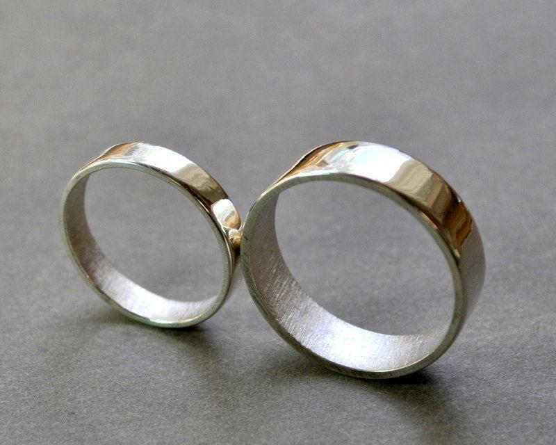 Www Etsy Listing 109167598 Flat Wedding Rings