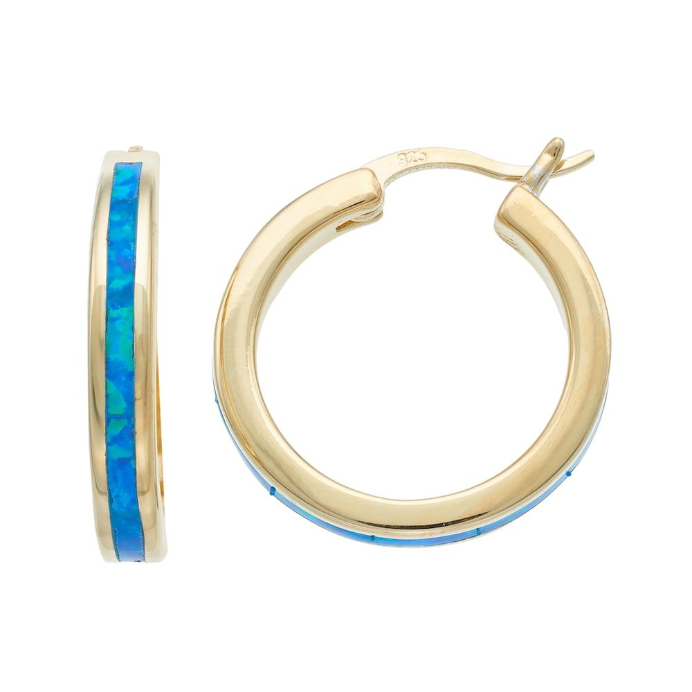 ea9902a29 14k Gold Over Silver Lab-Created Blue Opal Hoop Earrings   Products ...