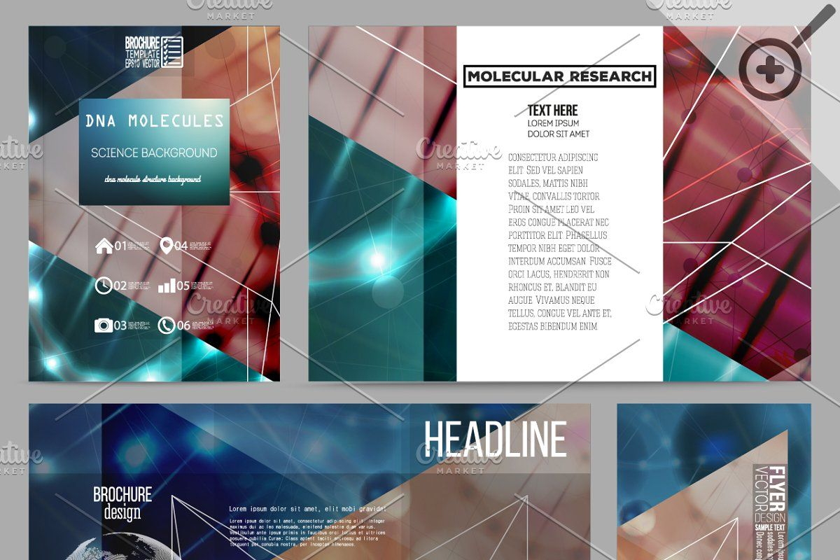 Bundle Of 20 Sets Abstract Dna Business Template Vintage Photoshop Actions Molecules