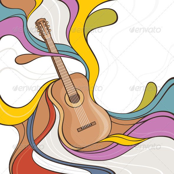 Abstract Illustration With Acoustic Guitar Acoustic Guitar Art Guitar Illustration