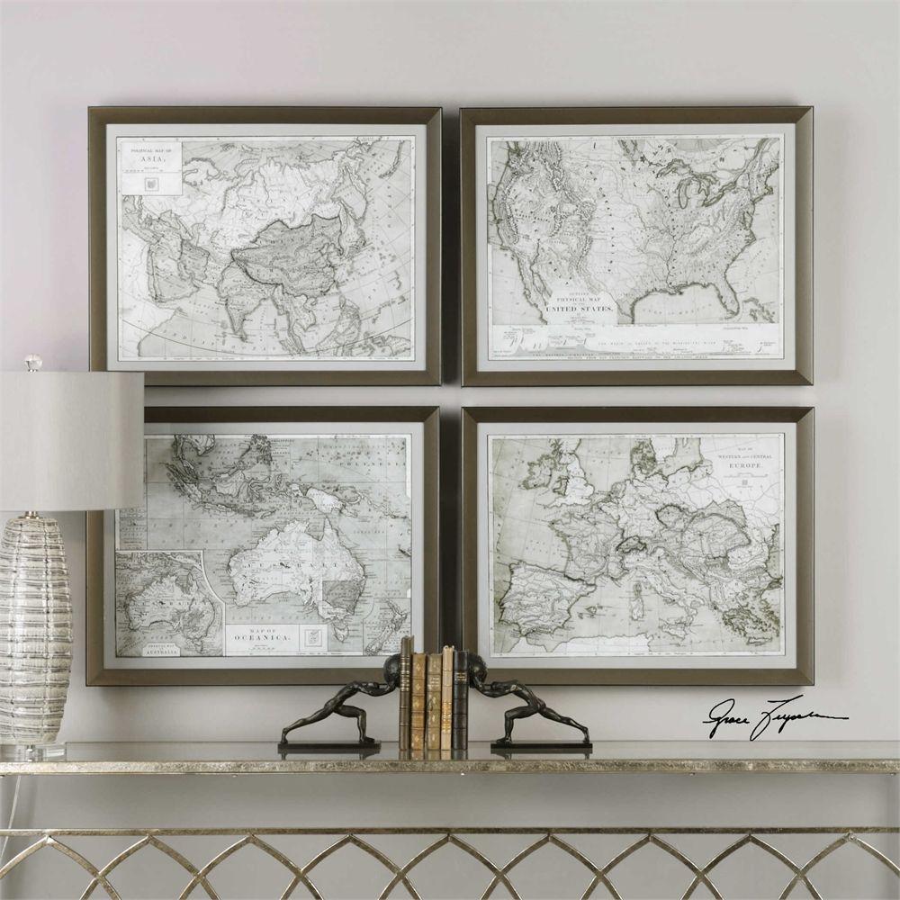 Uttermost world maps framed prints s4 future home furniture uttermost world maps framed prints s4 gumiabroncs Images