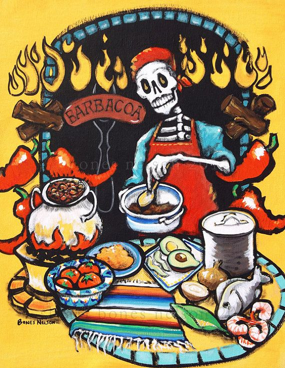 Father S Day Mexican Barbacoa Art Print Of The Dead Cook Wall Gift For Dad Skeleton Trippy Barbeque Bones Nelson Grill Poster