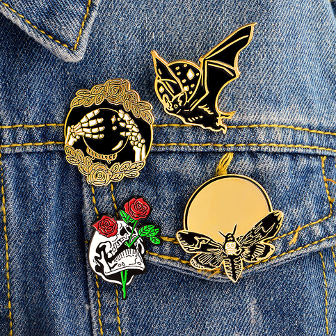 Resin Animal Skeleton Pins Brooch Bird Pig Cat Brooch For Bag Clothes Badge