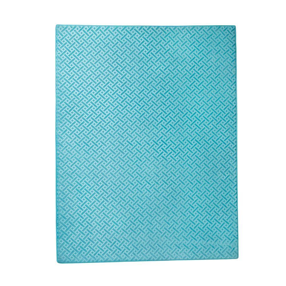 Memory Foam Geo Block Aqua Blue 4 Ft X 5 6