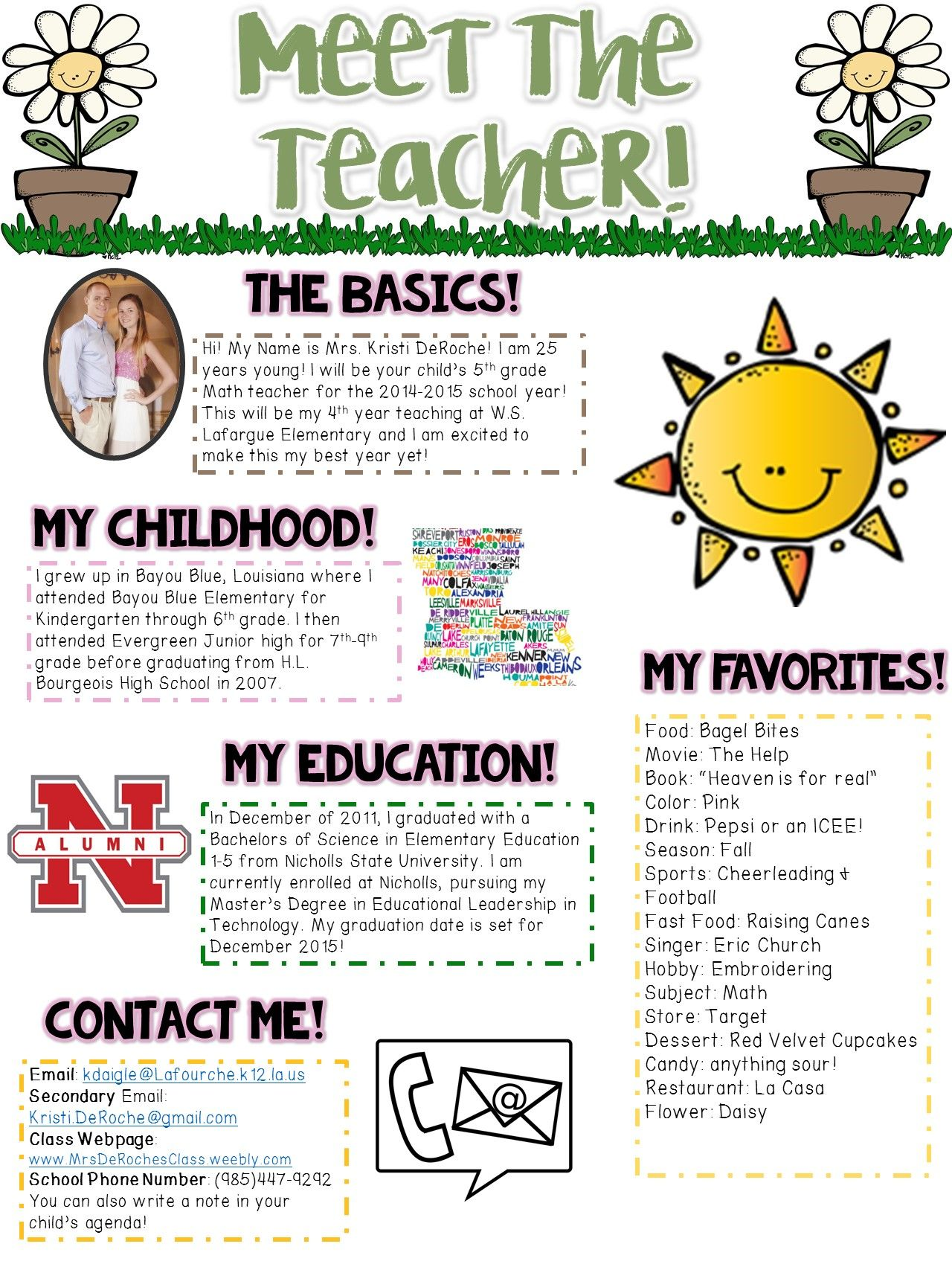 Meet the Teacher Newsletter- EDITABLE- Spring Theme | Meet the teacher. Back to school night. Parents as teachers