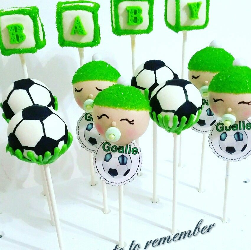 soccer baby shower cake pops cake pops pinterest. Black Bedroom Furniture Sets. Home Design Ideas