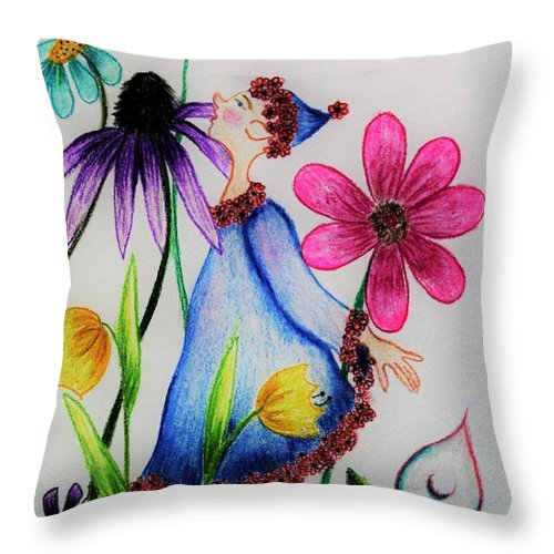 So Many Flowers Throw Pillow For Sale By M Crowell Flower Throw Pillows Throw Pillows Whimsical Art