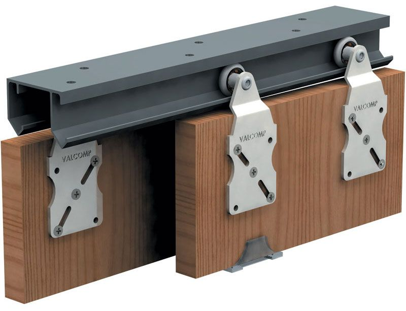 Double top hung sliding door gear 45kg 2400mm track set for Double hung sliding barn doors