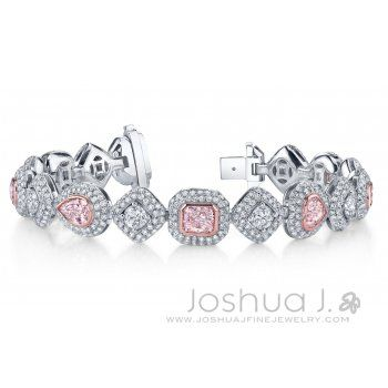 Natural Pink and Colorless Diamond Bracelet