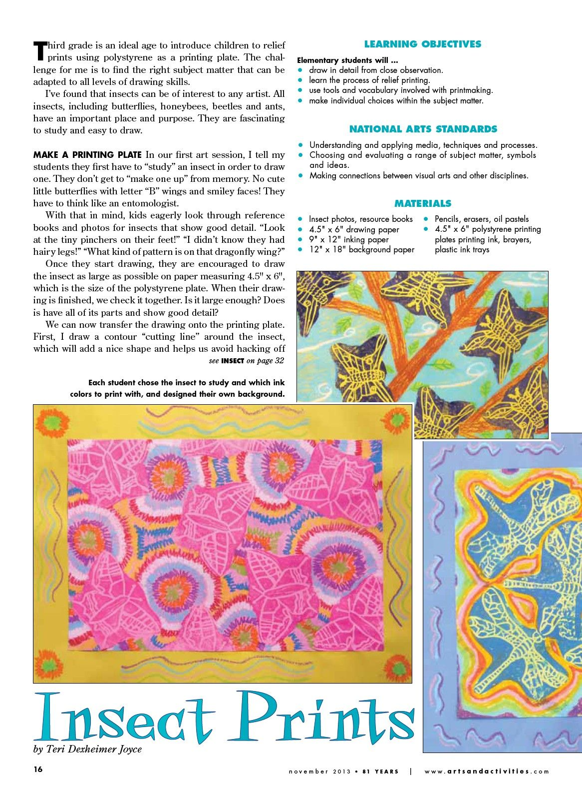 Insect Prints Lesson Plan From Arts Amp Activities