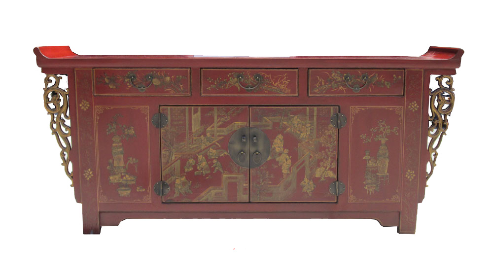 Chinese Red Gold Scenery Buffet Console Cabinet On Chairish Com Buffet Console Living Room Entertainment Units Living Room Entertainment