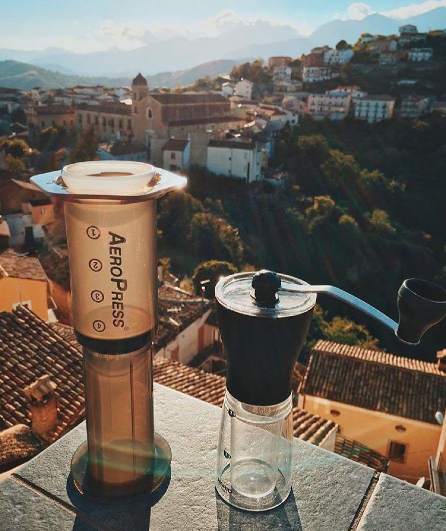 Get brewing! Gear online!  by @caffeinated_photog |  TAG your coffee friend! |  Shop NOW: http://ift.tt/1uHcmzT Link in Bio  @originalaeropress by originalaeropress