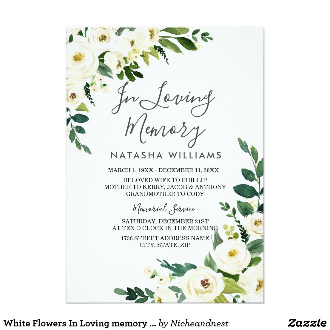 Create Your Own Invitation Zazzle Com In 2021 Memorial Service Invitation Funeral Invitation Memorial Cards For Funeral