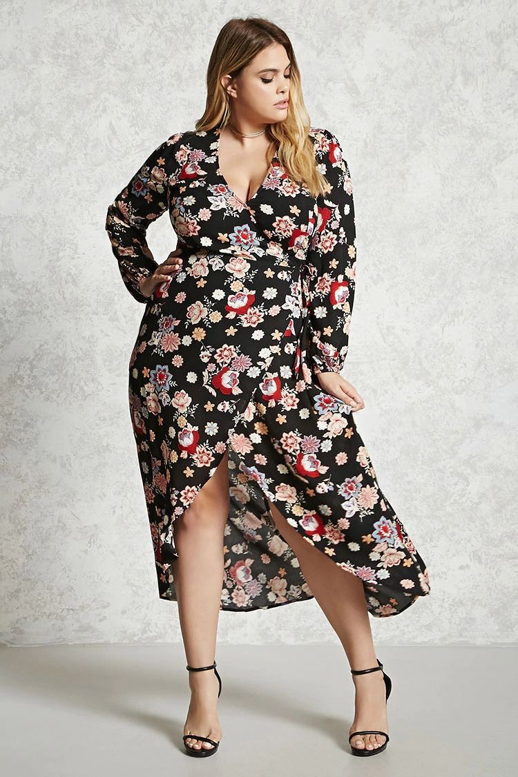 f13ac80b0d5 Forever 21+ - A woven wrap dress featuring an allover floral print ...