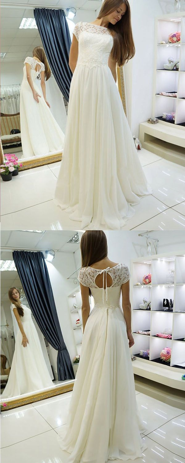 Aline bateau sweep train cap sleeves open back wedding dress with lace