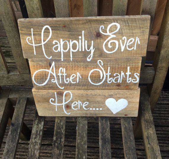 24 x 12 HAPPILY EVER AFTER Starts Here Wood Wedding Signs Wedding Signs