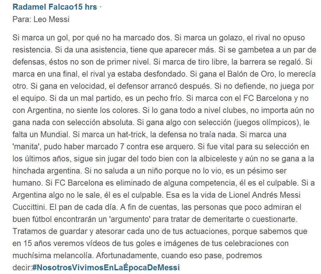 Falcao sobre Messi