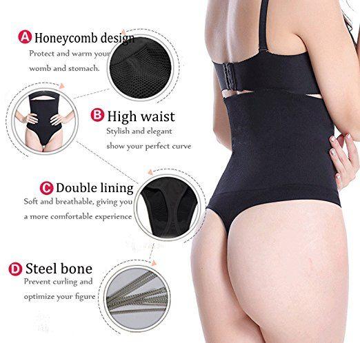 897b6416b01 SEXYWG Women High-Waist Thong Shapewear Body Tummy Control Cincher Boyshorts