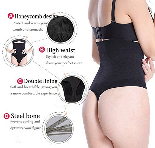 2a7c811aa785 SEXYWG Women High-Waist Thong Shapewear Body Tummy Control Cincher  Boyshorts, Black, Medium/Large at Amazon Women's Clothing store: