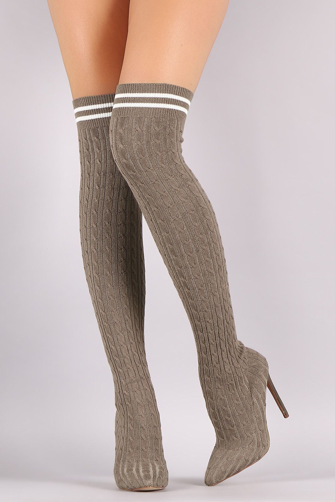f077138e1bb Liliana Stretched Sweater Knit Stiletto Over-The-Knee Sock Boots ...