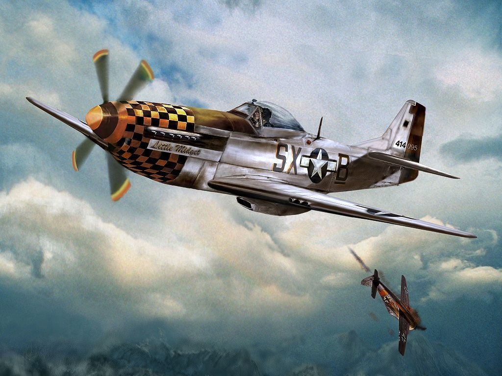 Painting Of The North American P 51 Mustang Fighter Little Midget In
