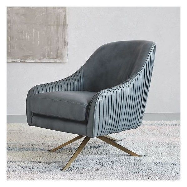 West Elm Roar + Rabbit Chair, Leather, Gray (White Glove Delivery) ($1,199) ❤ liked on Polyvore featuring home, furniture, chairs, accent chairs, west elm, grey chair, swivel chairs, grey leather chair and leather occasional chairs