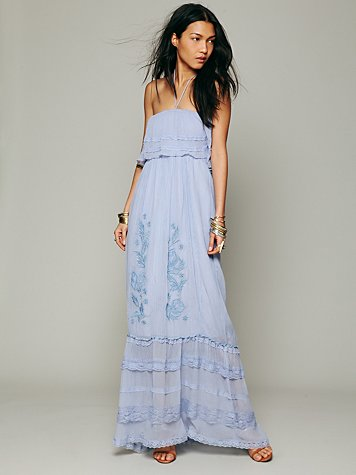 SnatchThat - Candela Maddie Embroidered Silk Maxi at Free People Clothing Boutique