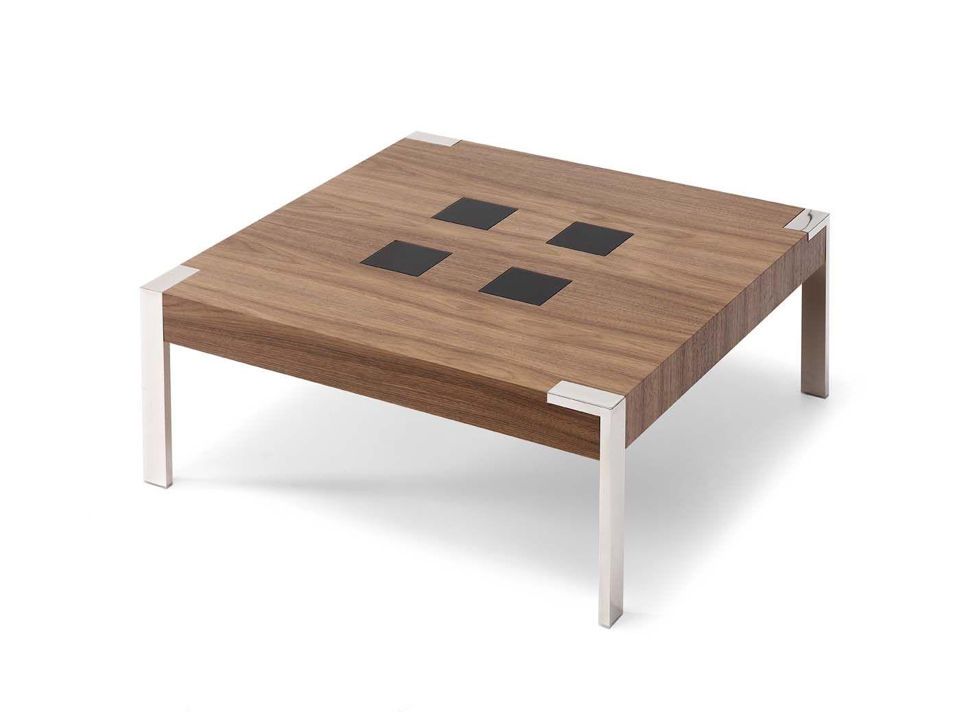 Mesa de centro en chapa natural de #nogal americano con patas en acero inoxidable