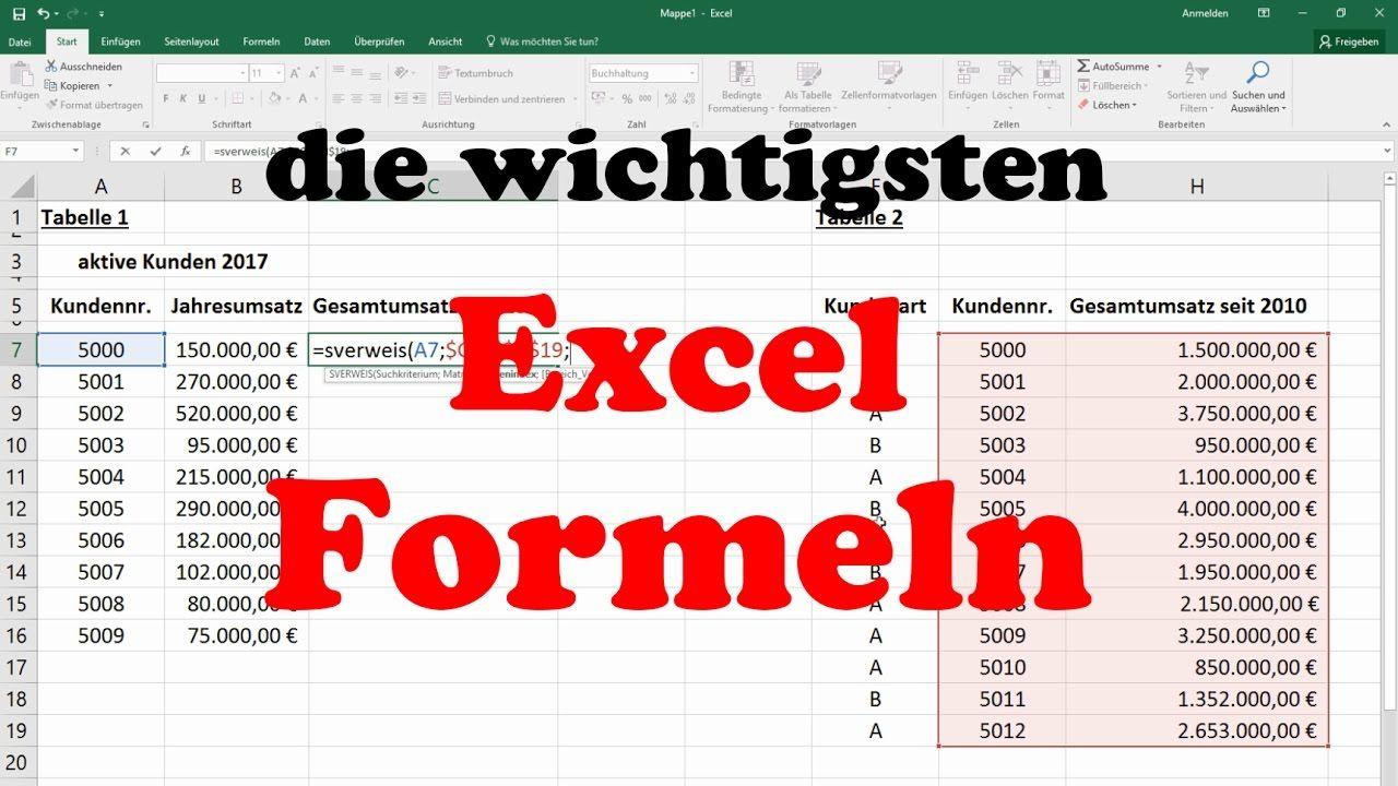 Excel Formeln Und Funktionen Sverweis Wenn Dann Sonst Summewenn