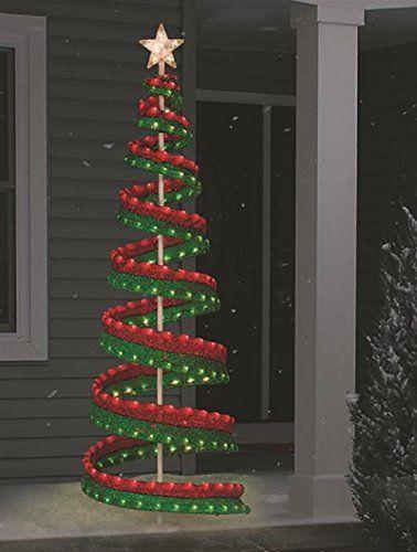 Christmas 6 Lighted Sisal Ribbon Tree With Sisal Star Outdoor Yard Outdoor Christmas Tree Outdoor Christmas Tree Decorations Christmas Decorations Diy Outdoor