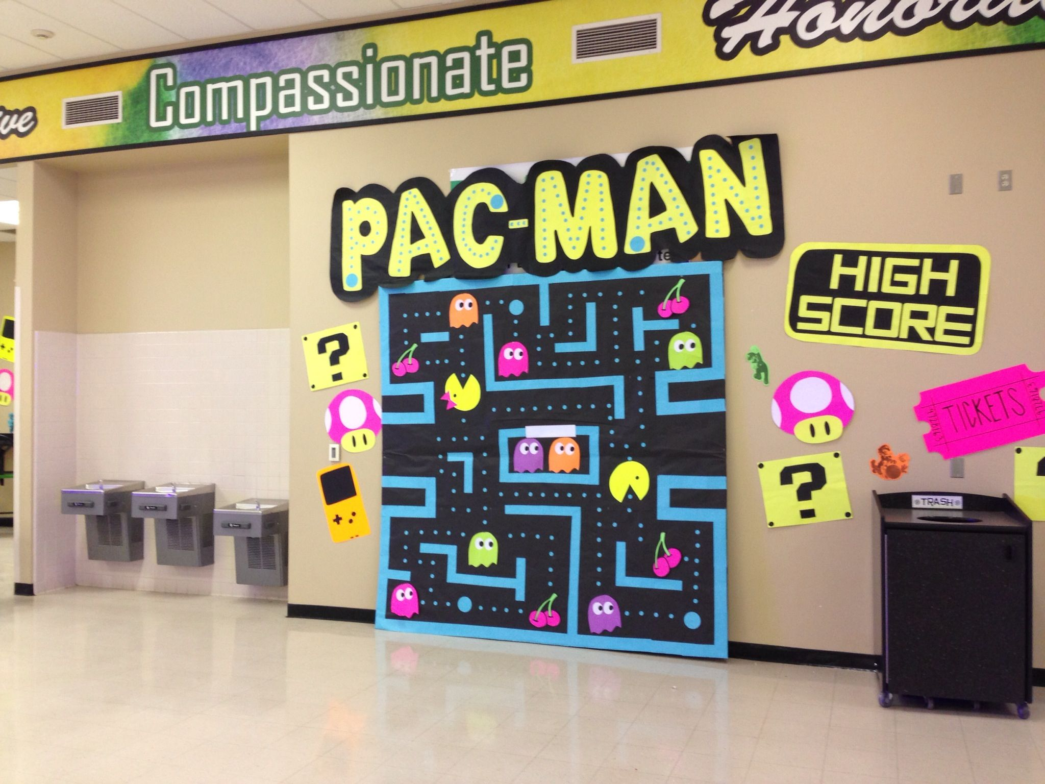 nice Pac Man Door Decoration Part - 18: Video Game themed dance decorations: Pac-Man