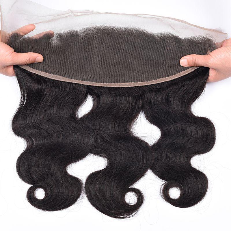 Dhl شحن 8a البرازيلي الجسم موجة الأذن إلى الأذن الدانتيل أمامي إغلاق مع شعر الطفل ابيض عقدة الانسان الشعر 13x Lace Frontal Closure Lace Frontal Baby Hairstyles
