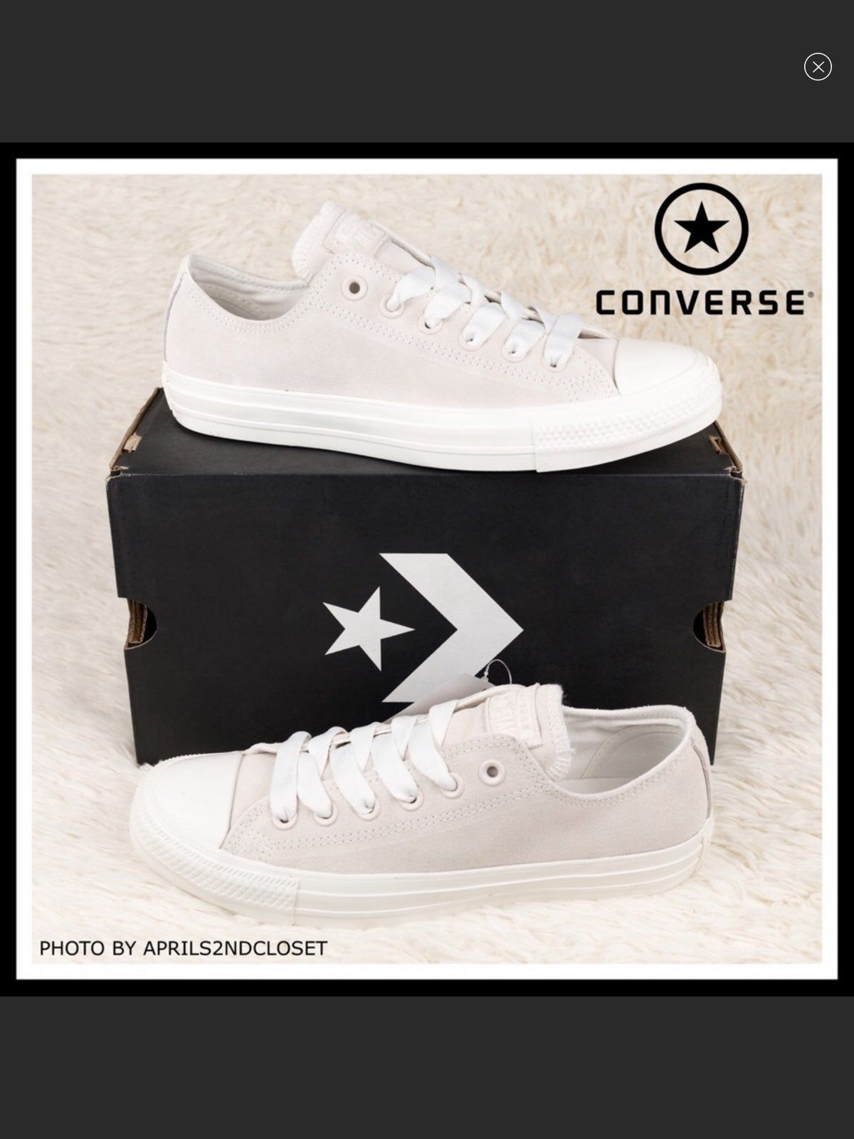 CONVERSE WHITE SUEDE LO OX LOW TOPS BIG EYELET SNEAKERS NEW