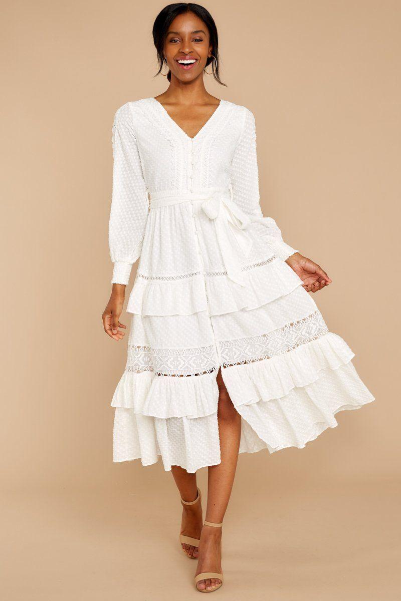 One Day Soon White Lace Midi Dress Robe Chemisier Mode Chemisier [ 1200 x 800 Pixel ]