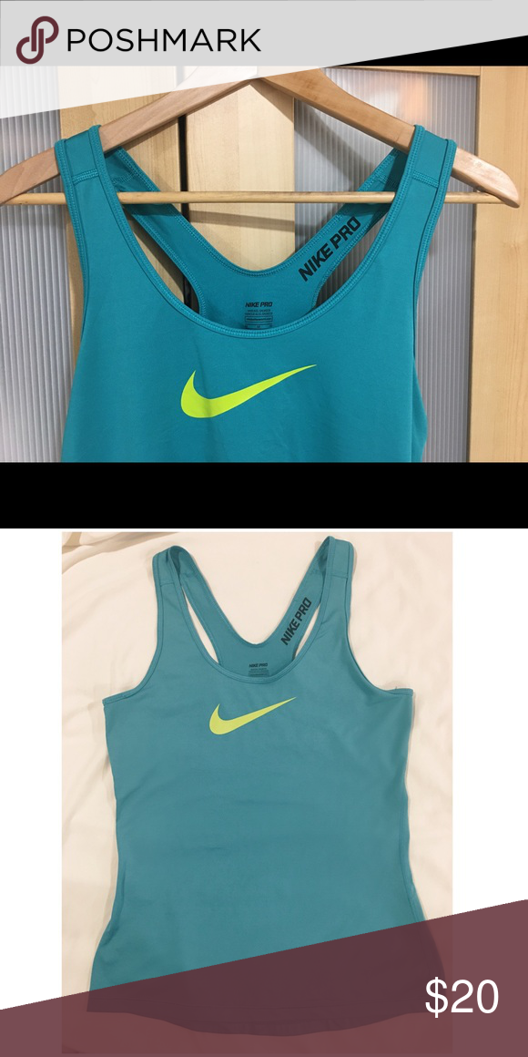 f7f05488056 Nike Pro Dri Fit Racerback in Teal Nike Pro racerback tank in teal with  yellow Nike swoosh. 100% polyester. Excellent used condition with no  visible signs ...