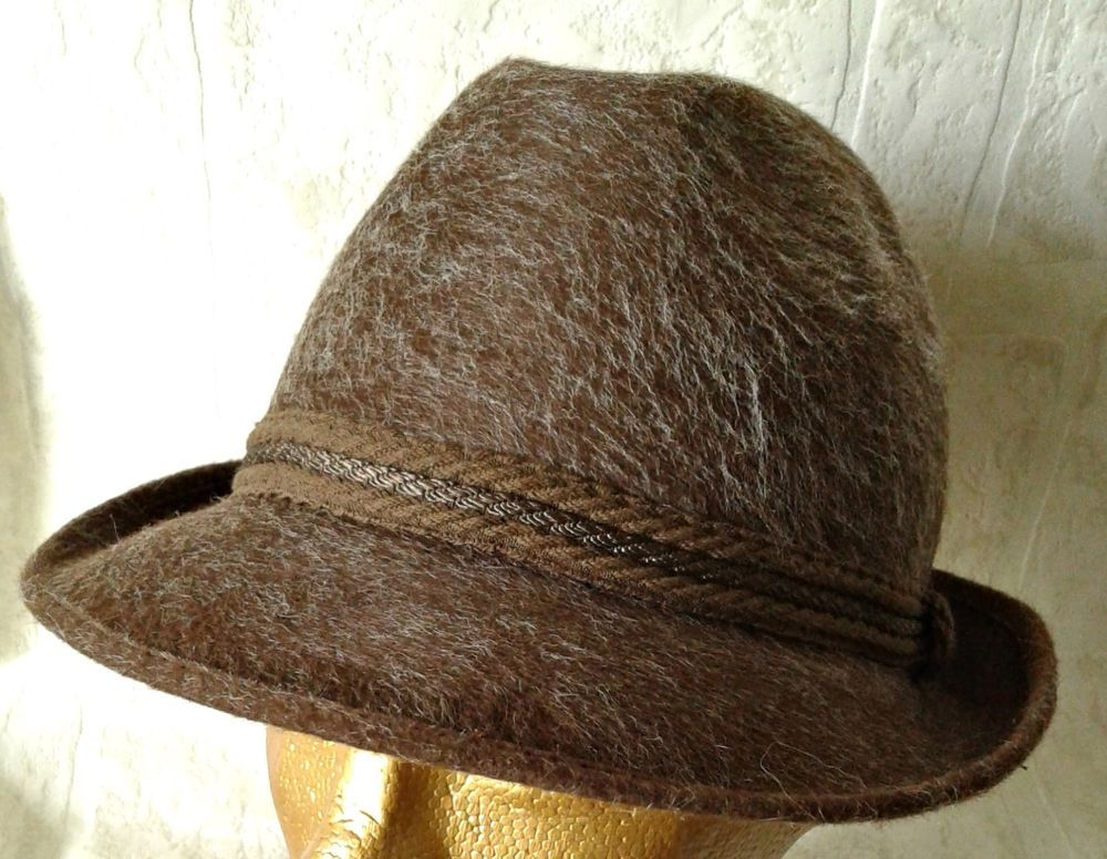 Tonak Hunting Hat Fur Felt Swiss Alpine Ski Mountaineer Beret Cap Vintage  Brown  Tonak 20f373df3b55