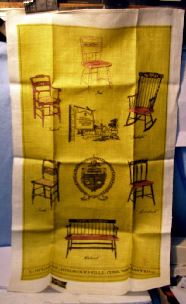 * Vintage - 100% Linen TEA TOWEL - HITCHCOCK FURNITURE - KAY DEE w TAG - UNUSED