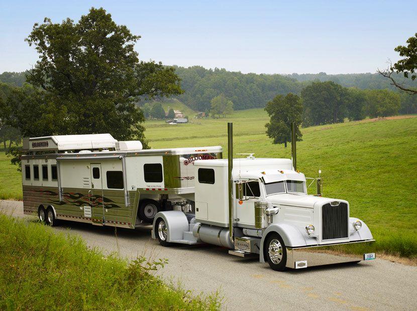 White Single-Axle Peterbilt and Horsetrailer | Horse ...